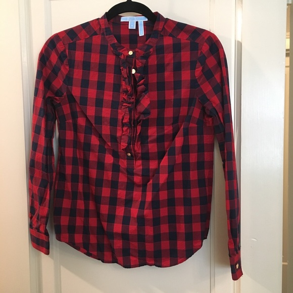 4ce500b58ce Draper James Tops - Draper James Plaid Red And Navy Checkered Blouse
